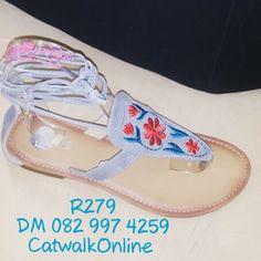Light Grey sandals with floral design