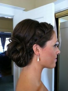Wedding hair but with long side swept bangs in front