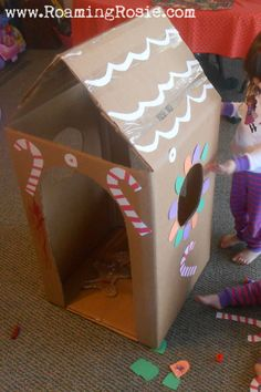 Posts about cardboard written by Roaming Rosie Cardboard Gingerbread House, Gingerbread House Template, Gingerbread Man, Diy Arts And Crafts, Diy Crafts For Kids, Fun Crafts, Craft Ideas, Christmas Gift Box, Kids Christmas
