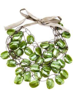 Women - All - Maria Calderara Tiered Panel Necklace - Biffi Resin Necklace, Resin Jewelry, Jewelry Necklaces, Famous Jewelry Designers, Bold Jewelry, Jewellery, Necklace Designs, Polyvore, Dress Code