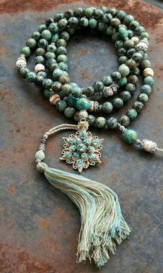African Turquoise Mala necklace decorated with a Nepalese pendant - Made by Loved & pinned by Tassel Jewelry, Tassel Necklace, Beaded Jewelry, Jewelery, Jewelry Necklaces, Handmade Jewelry, Bracelets, Jewelry Accessories, Jewelry Design