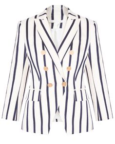 This graphic style Dickey features cool cropped sleeves and statement stripes. - Cotton - Lined - Length sleeves - Shoulder pads - Metal buttons - Dickey Cuffs cannot be worn with this style - Professional dry-clean only Garment Bags, Shoes With Jeans, Veronica Beard, Empire, Model, How To Wear, Jackets, Clothes, Shopping