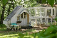 chicken coop from The Vintage Nest. Former child's playhouse turned Romantic Roost