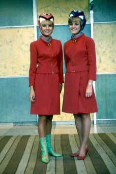 1967 Braniff.  2 great skirt styles