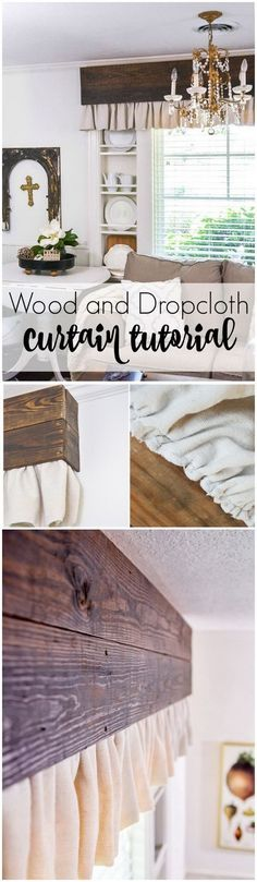 20 Gorgeous DIY Projects for Your Farmhouse Decoration 2019 DIY Wood Valance and Dropcloth Curtains. The post 20 Gorgeous DIY Projects for Your Farmhouse Decoration 2019 appeared first on Curtains Diy. Bedroom Curtains With Blinds, Decor, Curtains Living Room, Living Room Blinds, Fabric Blinds, Wood Valance, Home Decor, Sliding Door Curtains, Curtains With Blinds
