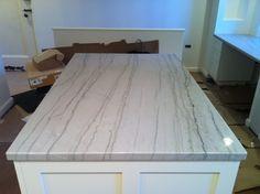 White Quartzite is in (photos)! need help w/ backsplash Kitchen Projects, White Kitchen Remodeling, Kitchen Remodel, White Modern Kitchen, Skylight Kitchen, Kitchen Countertops, White Kitchen Design, Countertops, Macaubas