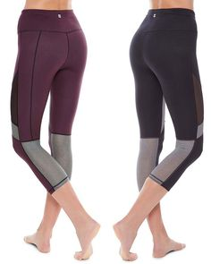Meet the reversible leggings set to transform your wardrobe in a cropped length for summer. Designed in super soft, stretchy fabric with fashion-forward mesh panels, they stay fully opaque both block color and black side out. Adjust the inner drawcord for a custom fit. It's time for front row style.