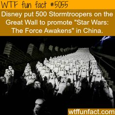 Disney put 500 Stortroopers on the Great Wall to promote new movie - WTF fun facts The More You Know, Good To Know, Did You Know, Wtf Fun Facts, Funny Facts, Random Facts, Disney Fun Facts, Weird But True, What The Fact