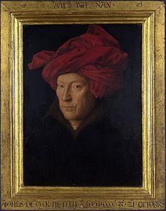 Ritratto di uomo con turbante rosso AutoreJan van Eyck Data1433 Tecnicaolio su tavola Dimensioni25,5 cm × 19 cm  UbicazioneNational Gallery, Londra