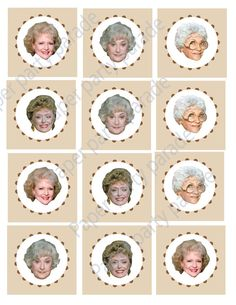 DIY Printable Golden Girls Cupcake Toppers- Dorothy- Blanche- Rose- Sophia- Golden Girls Party- Birthday Party- Reunion