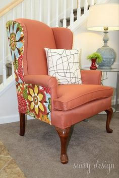Marvelous Living Savvy: How To: Reupholster A Wing Back Chair   Love The Use Of The  Different Fabric On The Back