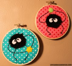 Two embroidered/appliqued hoops featuring the Soot sprites from Totoro and Spirited Away! Geek Crafts, Cute Crafts, Crafts To Do, Arts And Crafts, Embroidery Hoop Art, Cross Stitch Embroidery, Embroidery Patterns, Cactus Embroidery, Totoro