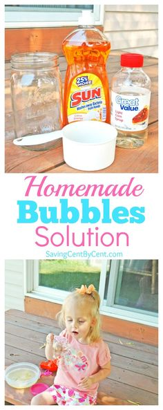 These homemade bubbles are inexpensive, only 3 ingredients, and a fun summer activity for kids that they'll want to do for hours. // Homemade bubbles for kids // Homemade bubbles with corn syrup // Homemade bubbles recipe dishwashing liquid // Homemade Bubble Recipe, Homemade Bubbles, How To Make Homemade, Bubble Solution Recipe, Homemade Bubble Solution, Summer Activities For Kids, Diy For Kids, Baby Activities, Kids Fun