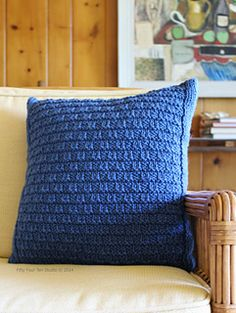 "The ""Bay View Pillow"" by Fifty Four Ten Studio.  Knit with chunky weight yarn.  Fun, quick knitting project!"