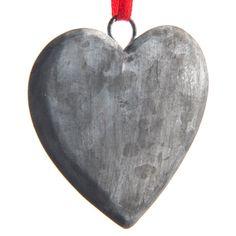 Galvanized Metal Heart Ornament | Christmas | Elegant  - Cracker Barrel Old Country Store