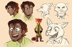 via tumblr -- I love the other humanized Nick, but this is mostly how I imagine he would look. The movie Zootopia is so much about prejudice, it seems weird to make both Judy and Nick white in human form.