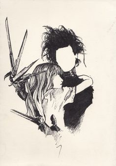 Edward Scissorhands, one of my favorite Tim Burton movies Estilo Tim Burton, Art Tim Burton, Tim Burton Stil, Tim Burton Kunst, Tim Burton Artwork, Illustrations, Illustration Art, Halloween Illustration, Arte Horror