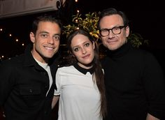 Actors Christian Slater, Carly Chaikin, and Rami Malek attend the GQ and AG Dinner with Christian Slater at Petit Ermitage Hotel.