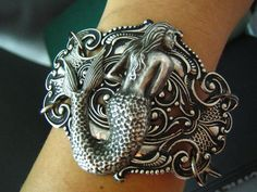 Daughter of the sea-Vintage sterling silver plated brass mermaid art nouveau bracelet/cuff