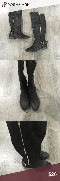 Black riding boots with gold zipper+buckle detail Black riding boots with gold zipper+buckle detail. Perfect for fall and winter weather! Look great with dresses, leggings, pants, etc! Small black zipper on inside of boots to easily slip boots on and off Shoes Winter & Rain Boots