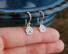 Paw print charm earrings in sterling silver by jersey608jewelry, $24.00