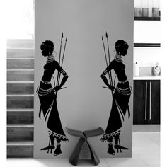 2x Housewares Tribal African Woman Wall Decal Vinyl Sticker Home Decor ($25) ❤ liked on Polyvore featuring home, home decor, wall art, black, home & living, home décor, wall décor, black home decor, window decal stickers and vinyl decals