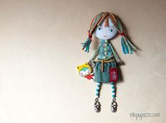 Art Doll Brooch Girl and her Froggy mixed media by miopupazzo