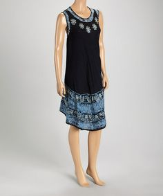 Look at this #zulilyfind! Black & Navy Flower Shift Dress #zulilyfinds