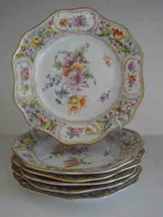 Antique Carl Thieme Dresden Porcelain Reticulated Plates Hand Painted -19th c.
