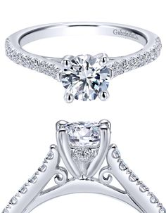 Check out the detail on this 14k White Gold Diamond Straight Engagement Ring from Gabriel & Co.
