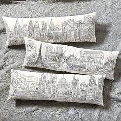 Paris vs new york themed room: Embroidered City Skyline Pillow   Ballard Designs $75
