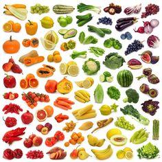 fruits and veggies. frutas e vegetais Rainbow Fruit, Colorful Fruit, Taste The Rainbow, Rainbow Diet, Rainbow Colors, Fruit And Veg, Fruits And Vegetables, Fresh Fruit, Vegetables List