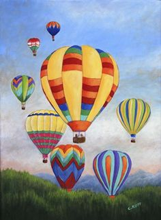 Sunrise Balloons by Carol J Rupp Hot Air Balloon Cartoon, Summer Drawings, Owl Vector, Balloon Painting, Air Ballon, Summer Painting, Rock Painting Designs, Step By Step Painting, Decoration