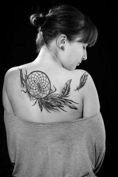 Huge dream catcher tattoo