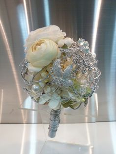 Wedding Bouquet White and Silver Bling Bling Brooch by MimosaFleur, $250.00
