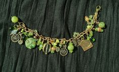 Little Girls Charm Bracelet  Green Glass and by oldredmaredesigns, $38.00