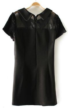 Gauze stitching hairy short sleeve lapel black significantly slim dress black