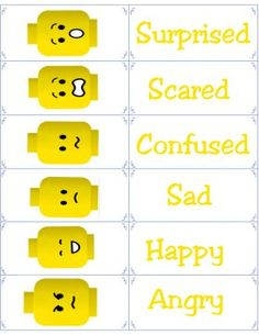 Free Printable Flashcards - Emotion Flash Cards - Lego Emotional Regulation - what boy does not love legos? Teaching Emotions, Social Emotional Learning, Feelings And Emotions, Social Skills, Emotional Regulation, Emotional Development, Counseling Activities, Therapy Activities, Learning Activities