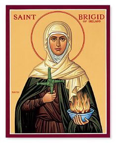 St Brigid of Ireland icon. St Brigid is as revered as St Patrick in Ireland.