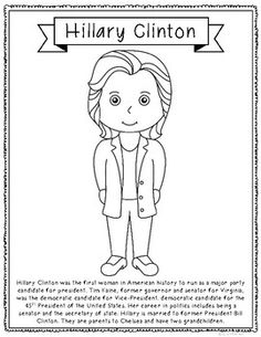 Awesome Hillary Clinton Biography Coloring Page Craft Or Poster, Election,  Government