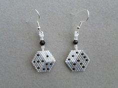 3 D look Dice earrings in delica seed by DsBeadedCrochetedEtc