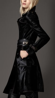 Burberry London Long Leather Trench Coat