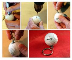 olive bites studio home of cat ivins and the polarity locket: Upcycled DIY Tutorial Golf Ball Keychain!
