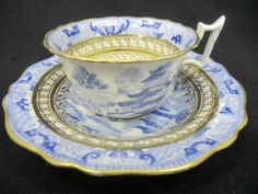Antique teacup set dating to approx Olde English shape. Broseley pattern with gilt patterned bands to both pieces Tea Cup Set, My Cup Of Tea, Tea Cup Saucer, Tea Sets, Vintage Cups, Vintage Tea, Teapots And Cups, Teacups, Tea And Crumpets