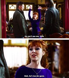 Supernatural 10x19 The Werther Project // Rowena, Dean, and Sam [gifset]