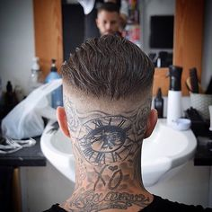 What are your thoughts on this one?😎 Follow us 👉 @MensHairWorld ❤… Bike Tattoos, Body Art Tattoos, Tribal Tattoos, I Tattoo, Sleeve Tattoos, Barber Haircuts, Haircuts For Men, African American Tattoos, Hair And Beard Styles