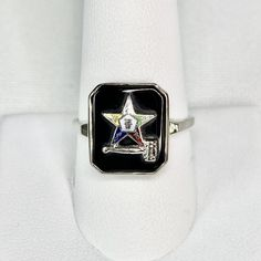 10K White Gold Onyx Order of Eastern Star Ring Vintage Art Deco Era Black Gemstone Red Green White Yellow Symbolic Star Gavel Masonic Estate Jewelry for Her Offered by MimisJewelryBoutique Real Gold Jewelry, Jewelry For Her, Gold Filled Jewelry, Vintage Rings, Vintage Art, Vintage Jewelry, Photographing Jewelry, Black Gems, Eastern Star