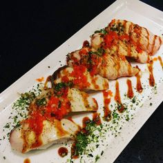 Hamachi and salmon aburi nigiri  #hamachi #salmon #sake #nigiri #sushi #aburi #yummers #foodies #foodporn #japanesefoodie #japanesefoodporn #japanesefood by jjfishmart