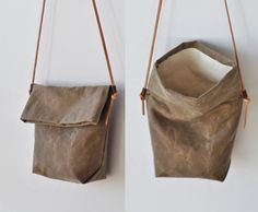 Tan FIELD BAG with thin leather strap