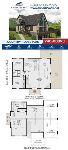 This 2,010 sq. ft., Country design is calling your name! Plan 940-00393 offers 3 bedrooms, 2 bathrooms, the side entry garage feature, a kitchen island, and a loft. To learn more about Plan 940-00393, check out our website. Country House Plans, Best House Plans, Floor Plan Drawing, Stair Detail, Cost To Build, Construction Cost, House Stairs, Build Your Dream Home, Square Feet